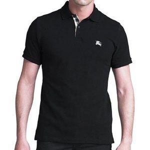Men's Burberry Brit pique knit black polo w/logo